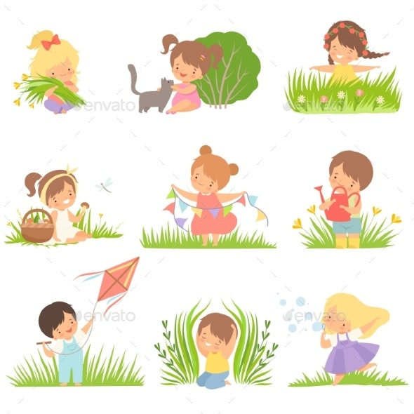 Kids Having Fun on Green Meadow Set - People Characters