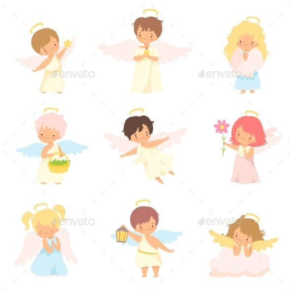 Baby Angels with Nimbus and Wings Set - People Characters