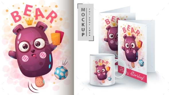 Bear Ice Cream - Mockup for Your Idea - Animals Characters