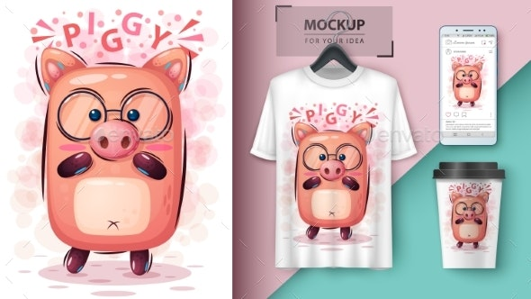 Pig - Mockup for Your Idea - Animals Characters