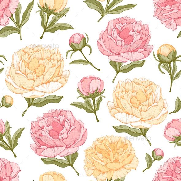 Peony Seamless Pattern - Flowers & Plants Nature