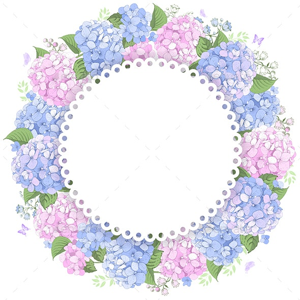 Floral Frame With Hydrangea - Flowers & Plants Nature