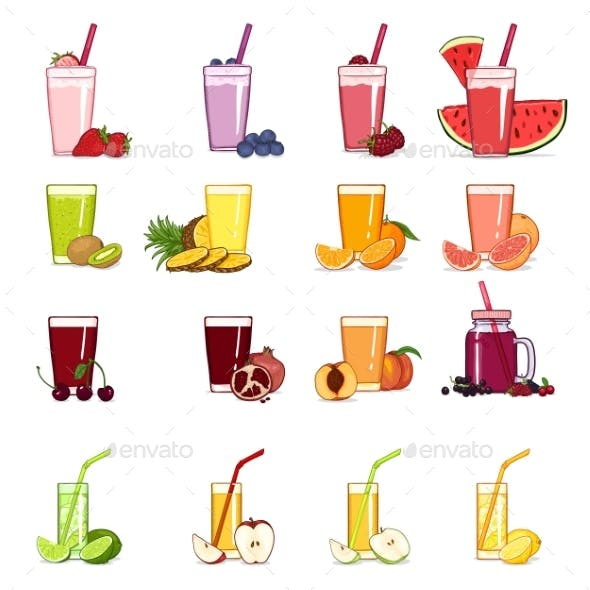 Vector Set of Cartoon Glasses with Fruits