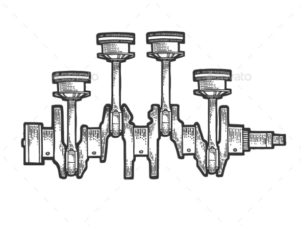 Engine Pistons on Crankshaft Sketch Engraving - Man-made Objects Objects