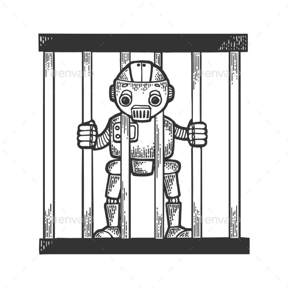 Prisoner Robot Behind Prison Bars Sketch Engraving - Miscellaneous Characters