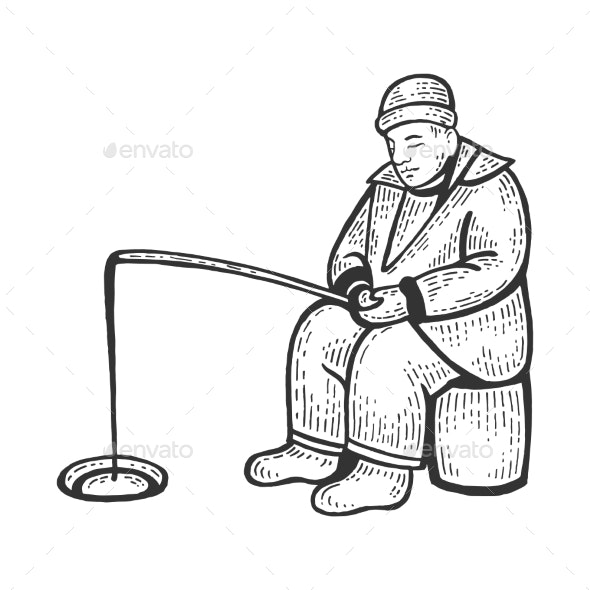 Ice Fishing Man Sketch Vector Illustration - People Characters
