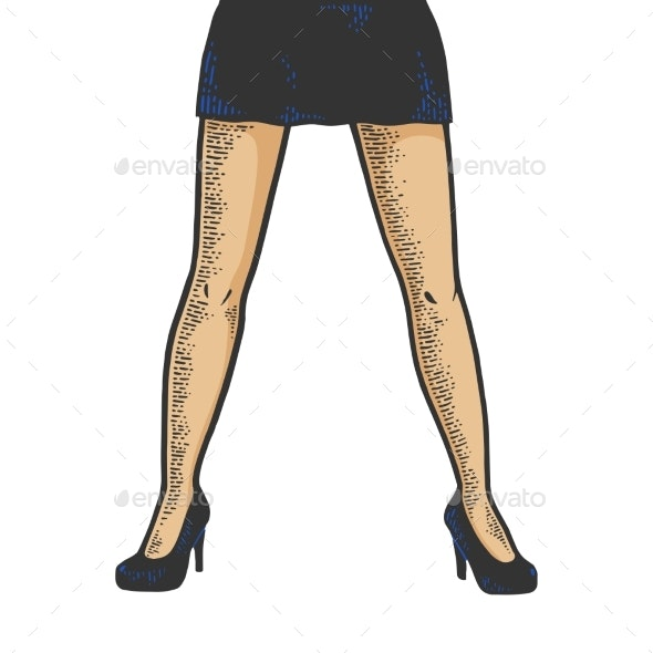 Young Woman Legs in Short Skirt Sketch Vector - People Characters