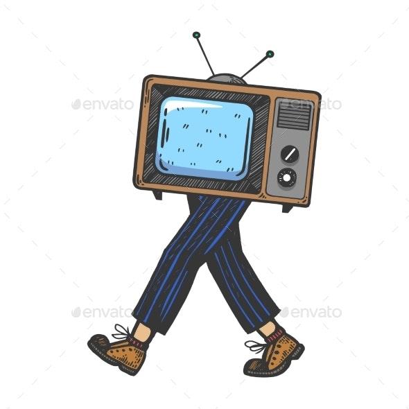 TV Walks on Its Feet Engraving Vector Illustration - Miscellaneous Vectors