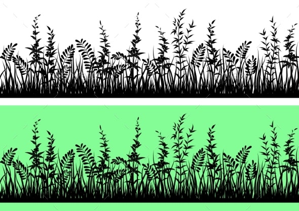 Grass Silhouette Seamless - Flowers & Plants Nature