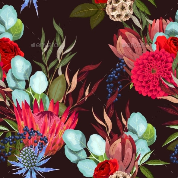 Vector Seamless Pattern with Protea and Greenery - Flowers & Plants Nature