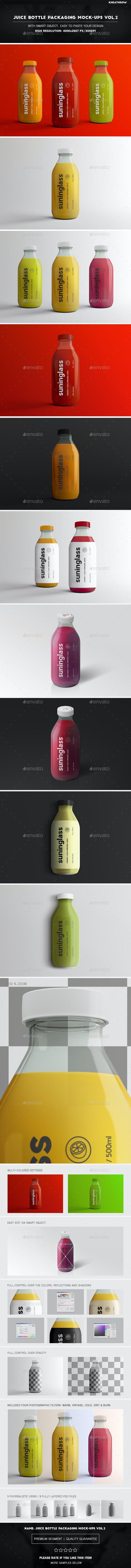 Juice Bottle Packaging Mock-Ups Vol.2 - Food and Drink Packaging