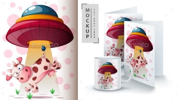 UFO and Cow - Mockup for Your Idea - Animals Characters