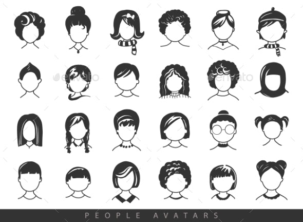 Simple Avatar Icons - People Characters