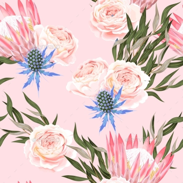 Vector Seamless Pattern with Protea and Roses - Flowers & Plants Nature