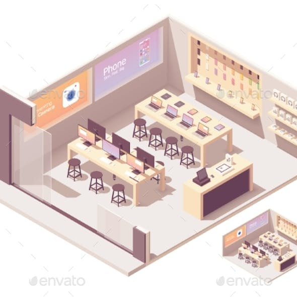 Vector Isometric Smartphones and Computer Store