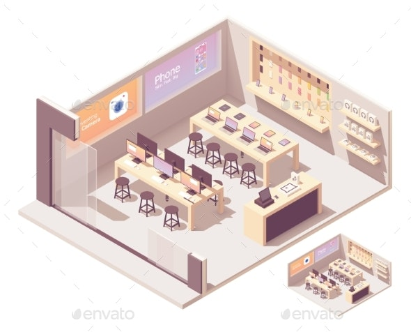 Vector Isometric Smartphones and Computer Store - Buildings Objects
