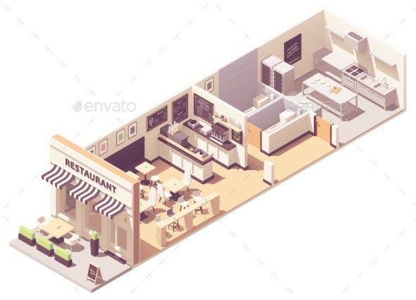 Vector Isometric Restaurant Interior Cross-Section - Buildings Objects