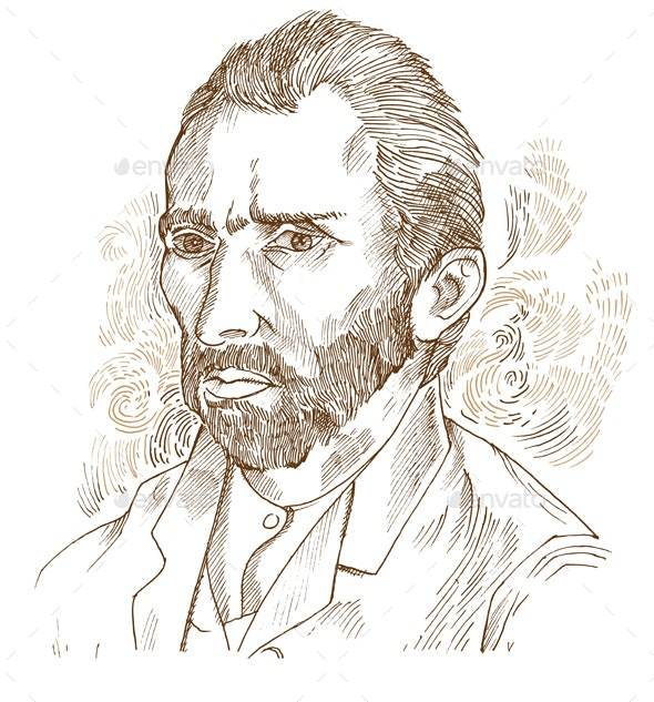 Hand Drawn Vector Portrait Vincent Van Gogh - People Characters