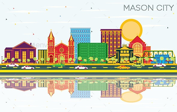 Mason City Iowa Skyline with Color Buildings - Buildings Objects