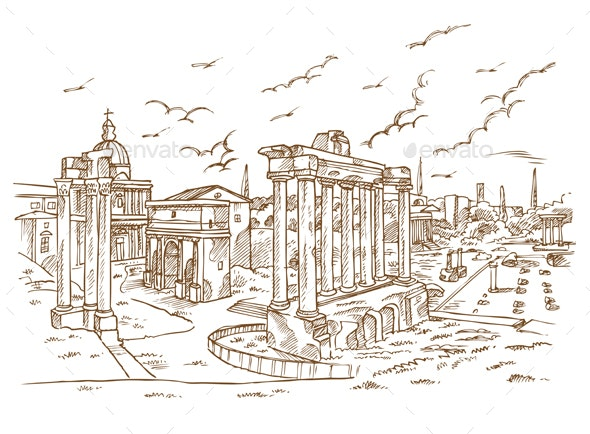 Remains of temples in Foro Romano - Buildings Objects