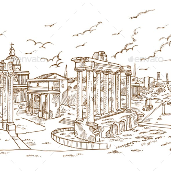 Remains of temples in Foro Romano