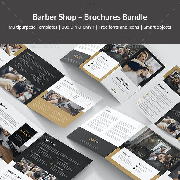 Barber Shop – Brochures Bundle Print Templates 5 in 1