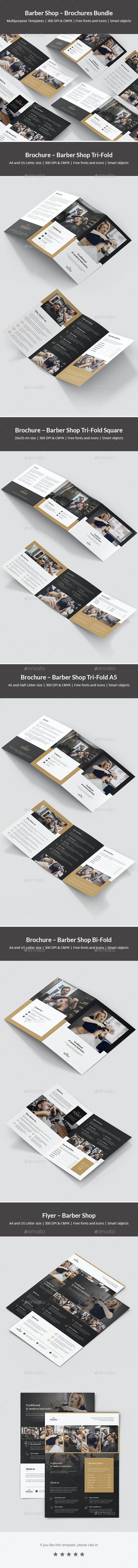 Barber Shop – Brochures Bundle Print Templates 5 in 1 - Corporate Brochures