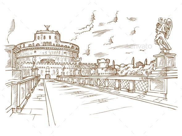 Castel Santangelo Hand Drawn Rome - Buildings Objects