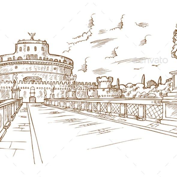 Castel Santangelo Hand Drawn Rome