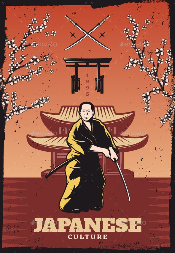 Vintage Colored Japanese Culture Poster - Miscellaneous Vectors