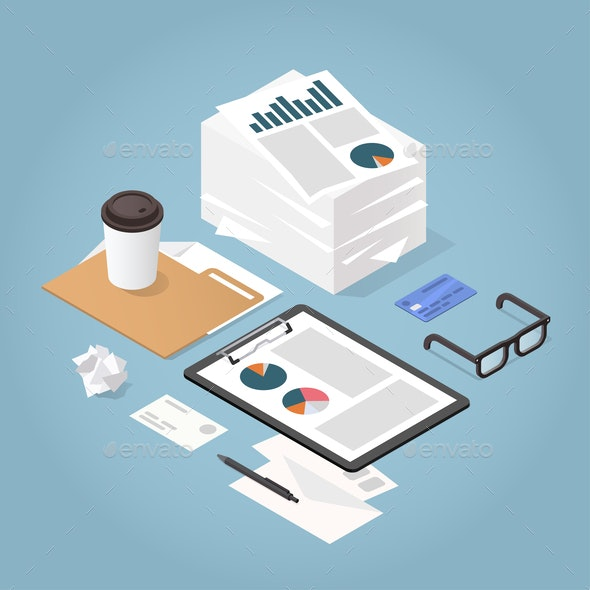 Isometric Paper Work Concept Illustration - Backgrounds Business