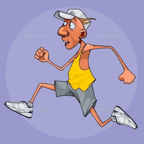 Cartoon Man in Sportswear Quickly Runs