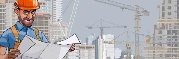 Cartoon Male Builder Engineer Looks - People Characters