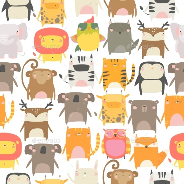 Seamless Pattern with Animals on White - Animals Characters