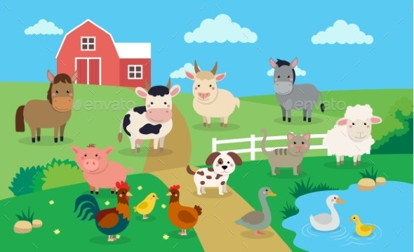 Farm Animals with Landscape - Animals Characters