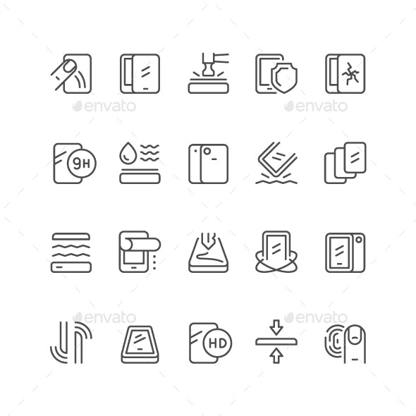 Smartphone Protection Line Icon - Man-made objects Objects
