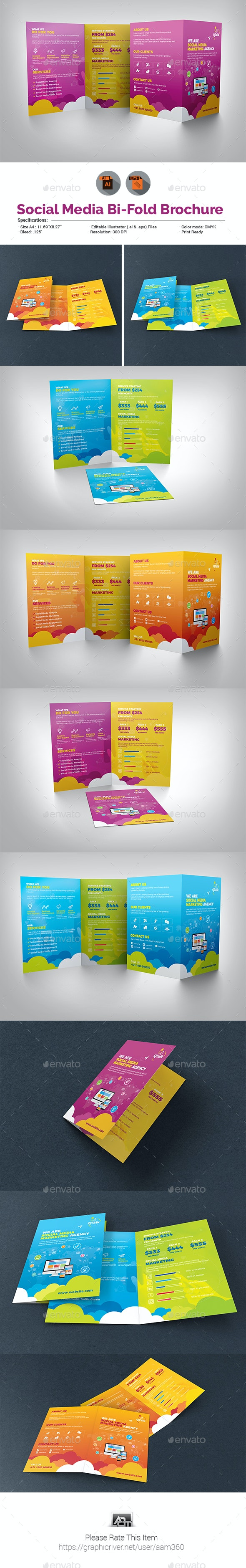 Social Media Marketing Bifold Brochure - Corporate Brochures