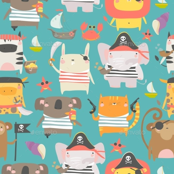 Seamless Pattern with Animals with Pirate - Animals Characters