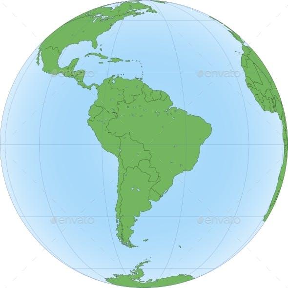 Earth Globe Focused on South America