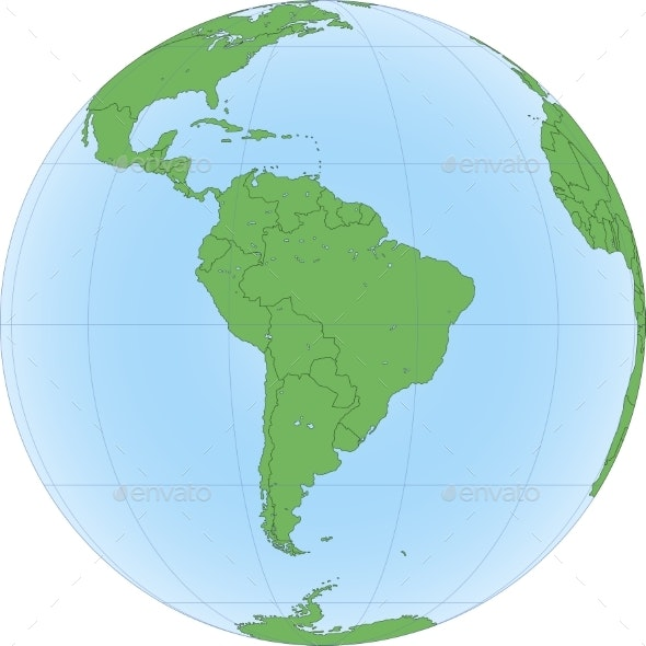 Earth Globe Focused on South America - Backgrounds Decorative