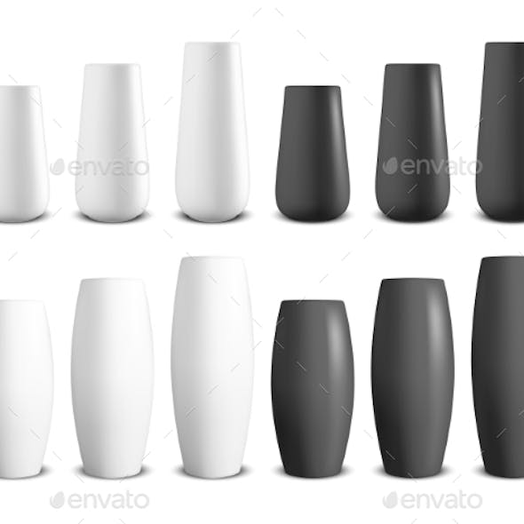 Vector Realistic Render White and Black Ceramic Vases
