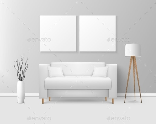 Vector Realistic Render White Sofa in Room - Man-made Objects Objects