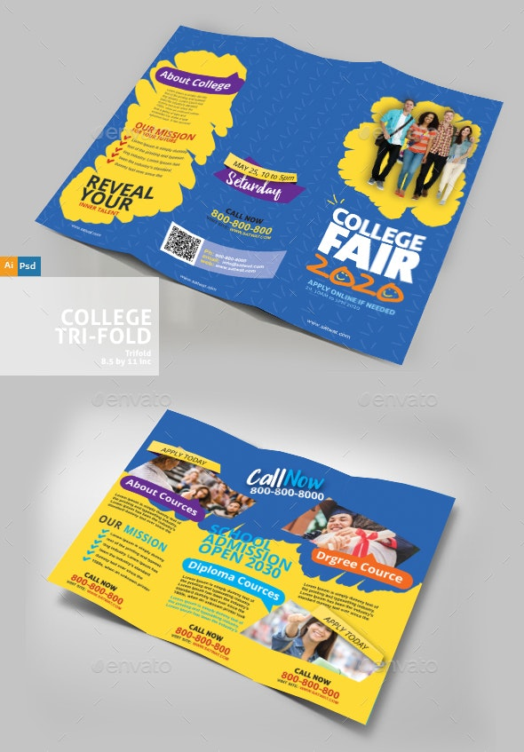 Education TryFold Design - Brochures Print Templates
