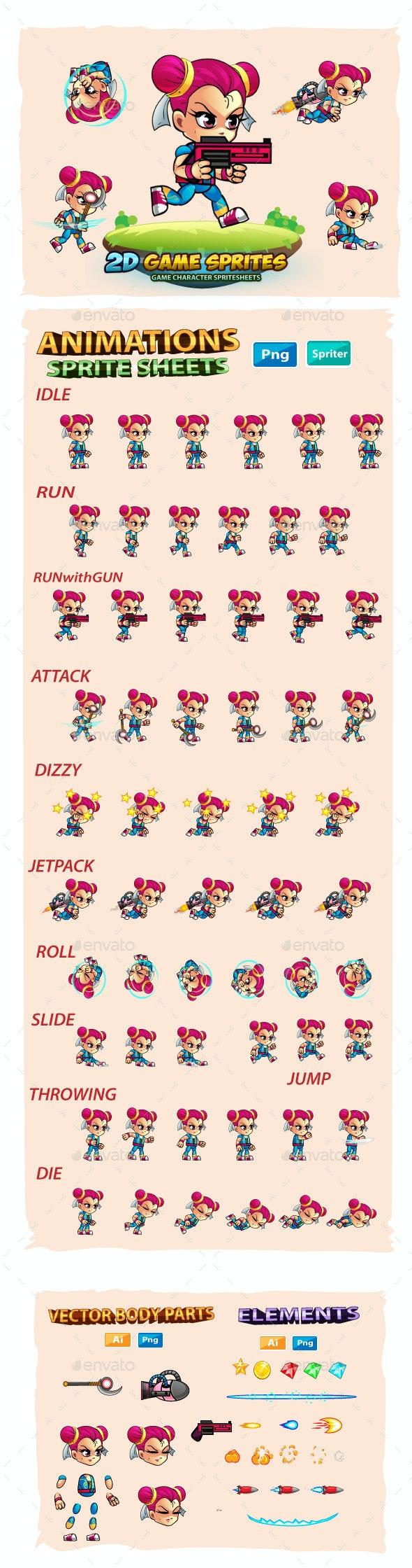 Kim 2D Game Charcter Sprites - Sprites Game Assets
