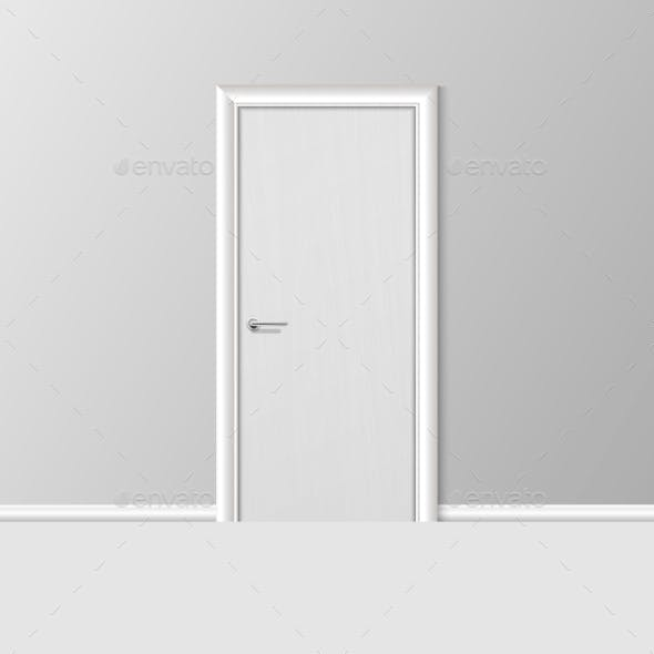 Vector Realistic Simple Modern White Closed Door