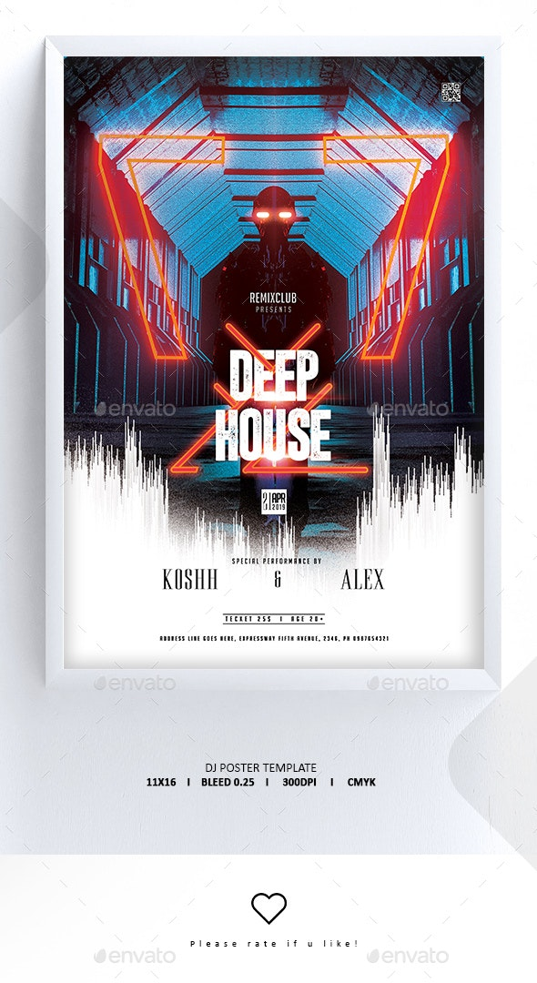 Deep House Poster Template - Clubs & Parties Events