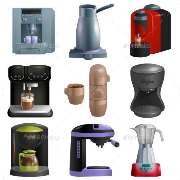 Coffee Machine Vector Coffeemaker and Coffee - Food Objects