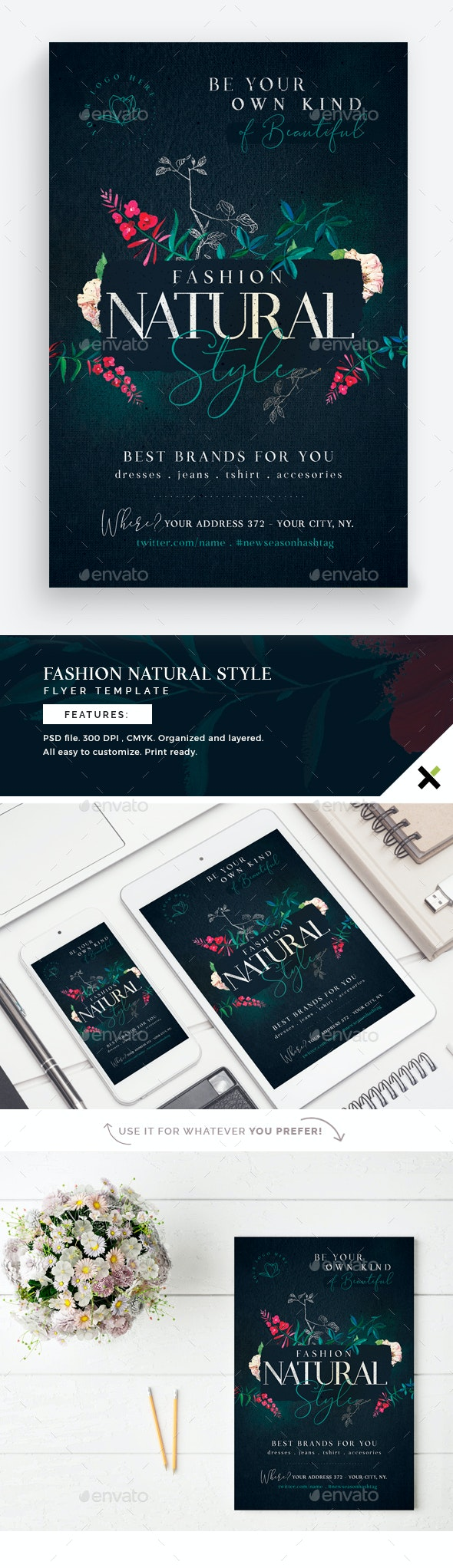 Fashion Natural Style Flyer Template - Flyers Print Templates