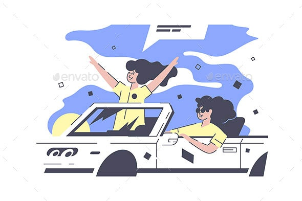 Best Friends in Car - People Characters
