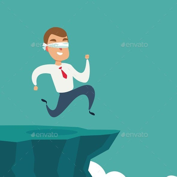 Blindfolded Businessman Run To the Cliff